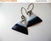 Ombre Triangle Earrings  Geometric Dangles  Celestial Blue and White Hand Patina Brass  Gift Box