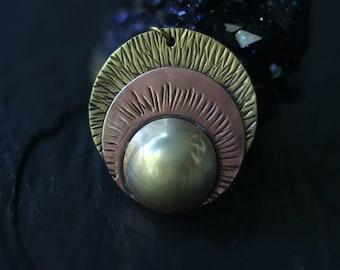 Lunar Eclipse Pendant, Moon, Sun, Earth, Brass, Copper, Pagan, Celestial, Blood Moon, Full Moon, Magic, Layering Pendant, Boho Jewelry