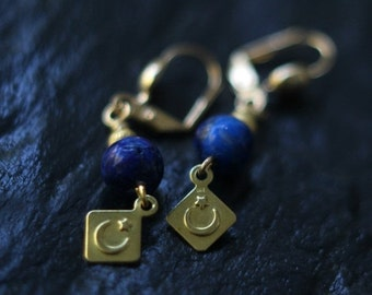 October Sale Celestial Lapis Lazuli Earrings, Crescent Moon Dangles, Stars, Brass, Cosmic, Alchemy, Pagan, Magic, Boho Jewelry