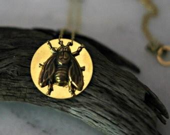 Bee Pendant, Bumblebee Necklace, Honey Bee, Under 10, Summer Insect