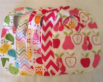 Baby Girl Gift Set - 5 Bibs owls birds apples pears chevron with snap closures and white minky backing READY TO SHIP