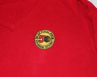 Vintage NCAA Final Four 1988 Red Sweater-  Kansas City KU Jayhawks WIN the National Championship