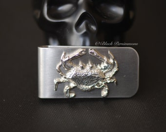Cancer the Crab Money Clip - Vintage Polished Silver Plated Brass Stamping Zodiacs Astrology Signs - STAINLESS STEEL Clip Insurance Included
