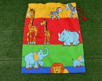 Kids library bag or kindy sheet bag, colourful zoo animals, large toy bag