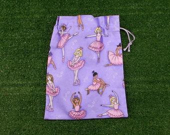 Small drawstring ballet bag, ballet gift bag, girls small ballerina treasure bag