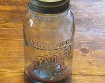 Rare Vintage Lynchburg Standard Mason Aqua Blue Quart Jar with Zinc Lid