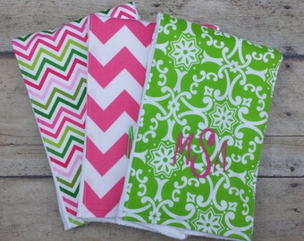Monogrammed Burp Cloth, Baby Gift, Personalized Burp Cloth, Pink and Green Burp Cloth, Preppy Burp Cloth