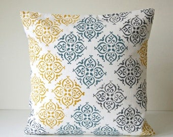 mustard teal grey on cream block printed decorative pillow cover, hand printed cushion cover 16 inch