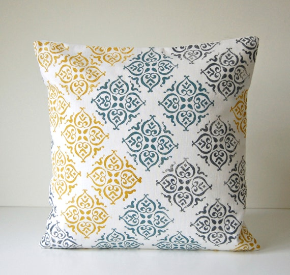 mustard teal grey on cream block printed decorative pillow