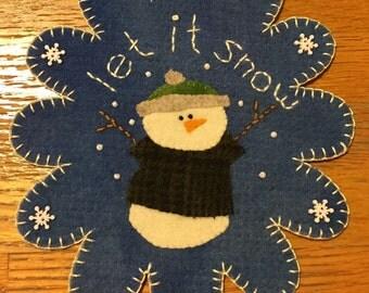Let it Snow Wool Penny Rug
