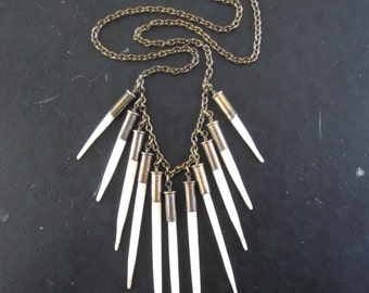 Fearsome Toothsome - Porcupine Quill Necklace - White Tribal Fringe With Upcycled Bullet Casings