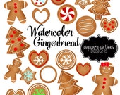Watercolor Gingerbread Cookies- Christmas Holiday  Digital Clipart Elements Commercial use Instant Download