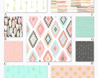 Pink, Mint and Gold Custom Crib Baby Bedding Set - Arrow Flight in Blush