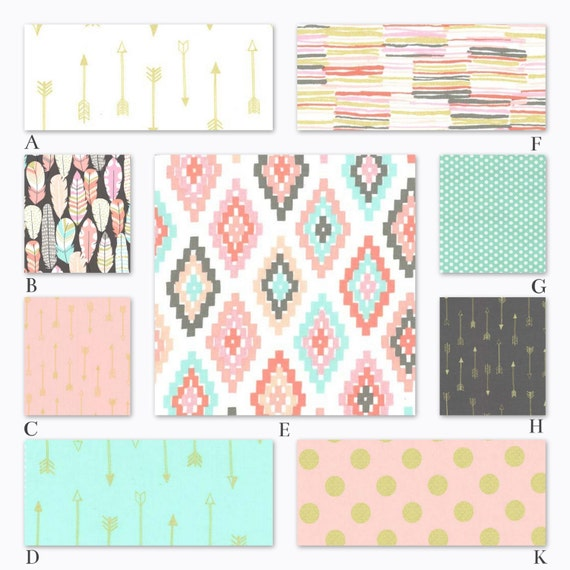 Pink Mint And Gold Nursery: Pink Mint And Gold Custom Crib Baby Bedding Set Arrow