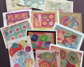 Art Cards with Ink and Colored Pencil Drawings of Whimsical Quilt Designs