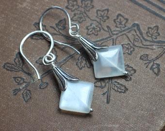 Moonstone Earrings Silver Petal Cap Rustic Jewelry White Moonstone Earrings