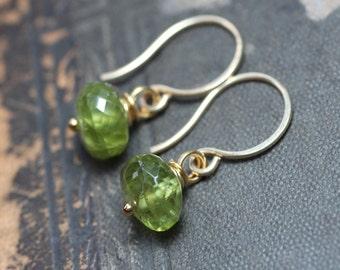 Bright Green Peridot Earrings Green Gemstone Earrings 14k Gold Filled Wire Wrapped Dangles