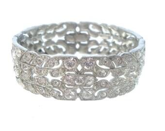 Art Deco Rhinestone Bangle, 1920s Antique Bracelet, Wide Crystal Cuff, Vintage Bridal Jewelry, Art Deco Jewellery