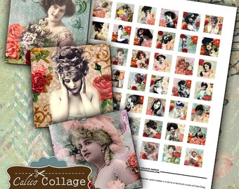 Beauty in Roses Digital Collage Sheet - Digital Collage Sheet 1x1 Inch Inchies Printable Download Images for Pendants, Square Bezels