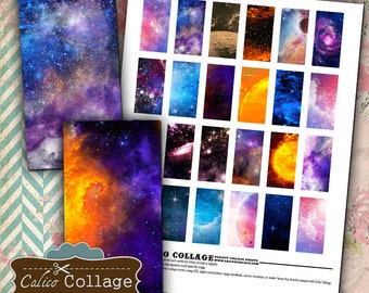 Collage Sheet, Nebula Collage Sheet, 1x2 Collage Sheet, Outer Space, Digital Imnages, Digital Collage, Galaxy Images, Domino Images