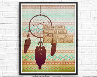 Dream Catcher, Wall Art, Printable Wall Art, Digital Art, Boho Wall Art, Boho Art, Printables, Catch Your Dream, Typography Print