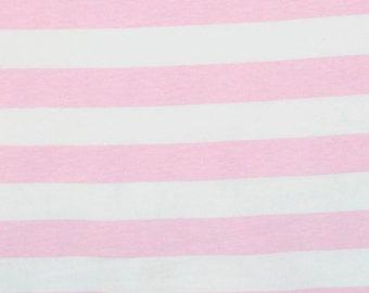 "Knit baby pink 1"" stripes 1 yard cotton spandex"