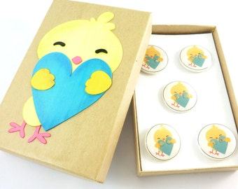 "EASTER Gift Set Sewing Buttons. 5 Yellow Chick and Heart Handmade Sewing Buttons.   3/4"" or 20 mm."