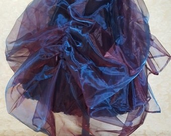 Clearance Purple Pink Blue Shot Organza Steampunk Full Length Tie On Bustle Skirt-One Size Fits All