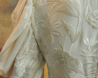 Ivory Silk embroidered dress with Leg O Mutten sleeves S to M