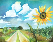 ON SALE TODAY! | Country Road Art Print | Watercolor Painting | Nature Wall Art | Outdoorsy | Katie Daisy | 8x10 | 11x14