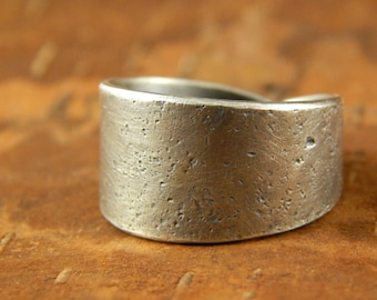 Wide silver ring, sterling silver wide band, comfortable tapered back, rustic finish.