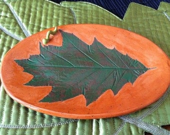 Oak Leaf Dish, Oak Leaf Plate, Ceramic Oak Leaf Dish, Oak Leaf Serving Plate, Oak Leaf Pottery, Ceramic Oak Leaf