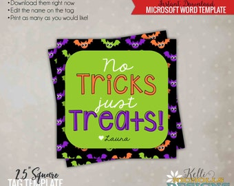 No Tricks, Just Treats Printable Tag, Colorful Bats, Halloween Candy Bag Tag, Printable Instant Download