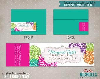 Modern Floral Wrap Around Return Address Labels, Custom Spring Wedding Envelope Sticker #S100