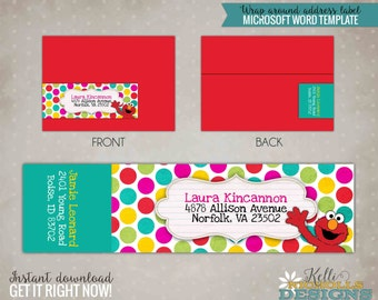 Little Girl Elmo Wrap Around Return Address Labels, Custom Sesame Street Birthday Sticker, Digital Template - Instant Download #B103-G