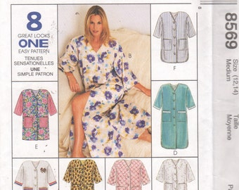 McCalls 8569  Easy Misses NIGHTGOWN Pattern Nightshirt 8 Great Looks Womens Sewing Pattern Size Medium 12 14 Bust 36 OR Large UNCUT