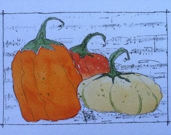 Pumpkin Time Watercolor card