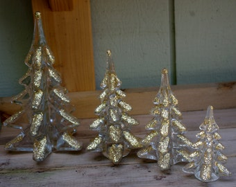 Art Glass Vintage Christmas Tree Set