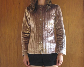 1970s lilac SILK QUILTED VELVET jacket, s