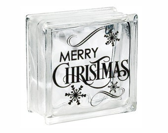 Christmas Decoration Glass Block Decal Merry Christmas DIY Glass Block light Decal, Tile, or Plate Decal Holiday Decoration Snowflake Decor