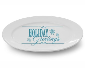 """Holiday Decoration """"Holiday Greetings"""" Charger Plate Decal Holiday Decal Sticker Lighted Glass Block Decal Decoration Holiday Sign"""