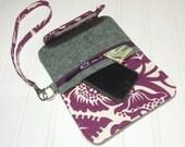 Fresh n Trendy Zipper Wallet   -   Essex linen with plum floral accent
