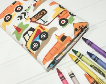 Construction crayon wallet, Dig it Trucks, Crayon roll up, Crayon storage, Kids travel toy,  kids coloring tote, Crayon case, Boys wallet