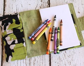 Camo Crayon Wallet.  Crayon Organizer. Crayon Roll.  Crayon Tote. Travel Toy. Child Activity Kit. Crayon Caddy. Art Kit. Coloring Wallet.