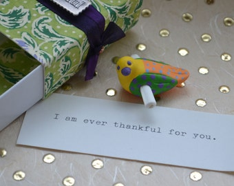 Ever Thankful for You Tiny Bird Scroll with Gift Bag