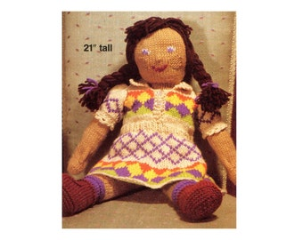 """Vintage Doll Knitting Pattern Sweet Soft Doll and Jacquard Dress 21"""" Little Girl Doll with Braids Huggable Friend Vintage Toy Pattern"""