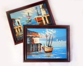 Small Vintage Oil Paintings Impressionist Landscape Maritime Seascape Ships Boats Blue Water Nautical Textured 7 x 9 American Vintage