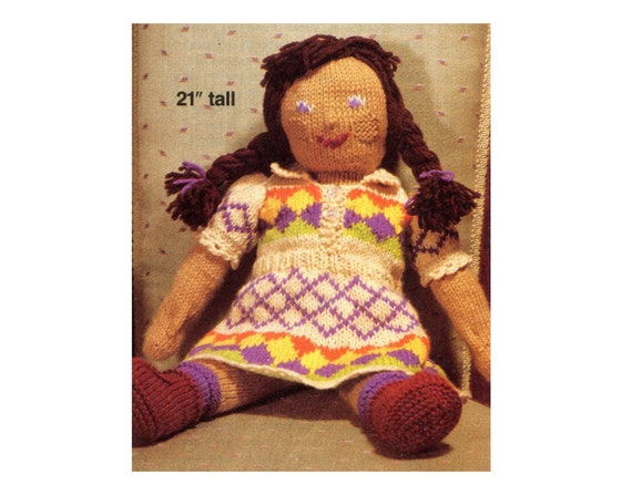 Vintage Doll Knitting Pattern Sweet Soft Doll and Jacquard