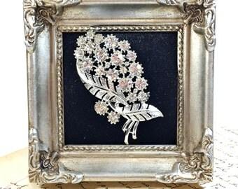 Vintage Rhinestone Coro pin brooch silver sparkle