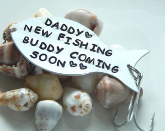 Fishing Lure Personalized, Pregnancy Announcement To Daddy, Fishing Gift, New FISHING BUDDY Coming SOON, Fisherman Gift, New Daddy Gift